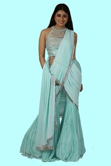 Picture of Sea Blue Color Saree Style Sharara Suit