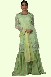 Picture of Green Color Net & Georgette Gharara Suit