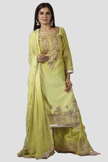Picture of Opulent Green Colored Partywear cotton Silk Palazzo Suit