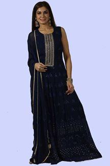 Picture of Royal Blue Anarkali Georgette floor length Suit
