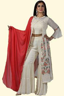 Picture of Designer Cream Color Jacket Style Gharara Suit