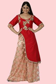 Picture of Red & Peach Color Designer Palazzo Suit