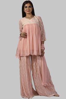Picture of Elegant Pink Designer Georgette  Lucknowi  Palazzo Suit