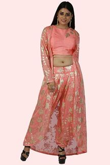 Picture of Peach Color Lycra Dhoti Style Jacket Suit