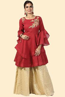 Picture of Maroon & Beige Color Peplum Style Palazzo Suit