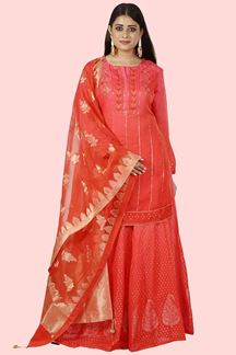 Picture of Pretty Two-Tone Pink & Red Color Partywear Palazzo Suit