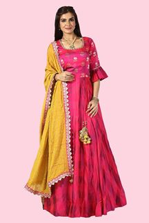 Picture of Radiant Pink Colored Party Wear Silk Anarkali Suit