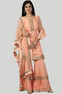 Picture of Dark Peach Designer Gharara Suit
