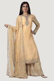 Picture of Golden Color Lucknowi Palazzo Suit
