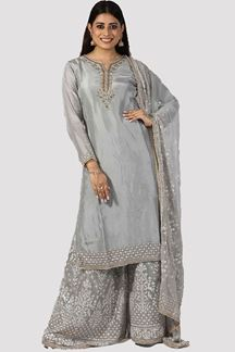 Picture of Capricious Grey Colored Partywear Embroidered Netted Palazzo Suit