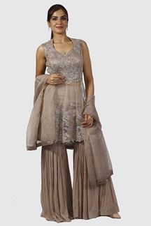 Picture of Light Brown Colored peplum Style Gharara