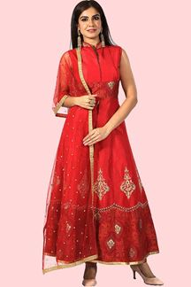 Picture of Red Color Anarkali Suit With Silk Dupatta