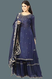 Picture of Demanding Navy Blue Colored Partywear Embroidered Gharara Suit