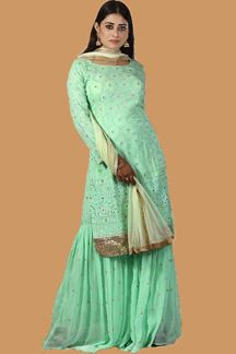 Picture of Ravishing Mint Green Colored Partywear Embroidered Georgette