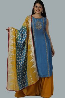 Picture of Intricate Blue Mustard Colored Party Wear Silk Palazzo Suit