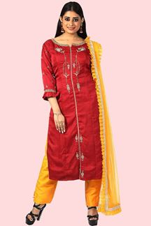 Picture of Attractive Red Colored Silk Suit With Pant