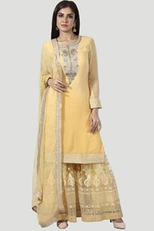 Picture of Golden Embroidered Designer Gharara Suit