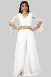 Picture of Designer White Color Palazzo Pant Suit