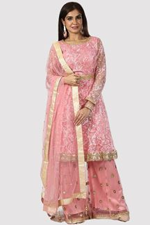 Picture of Desirable Rose Pink Colored Party Wear Embroidered Net Palazzo Suit