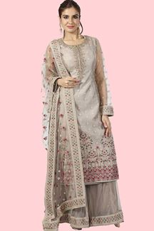 Picture of Charming Grey Colored Net & Raw Silk Palazzo Suit.