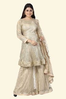 Picture of Ravishing Slate Gold Colored Partywear Embroidered Netted Palazzo Suit