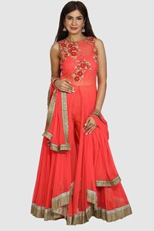 Picture of Peach Colored Anarkali Suit With Pant