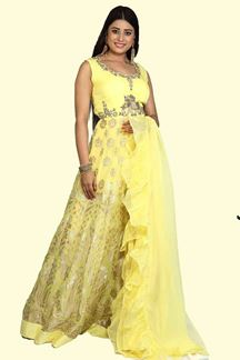 Picture of Flamboyant lemon Yellow Colored Partywear Georgette Anarkali Suit