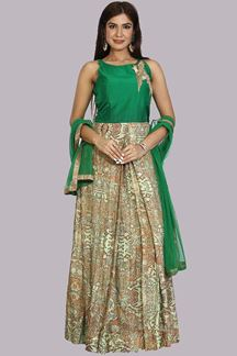 Picture of Preferable Pista Green Colored Partywear  Silk Suit