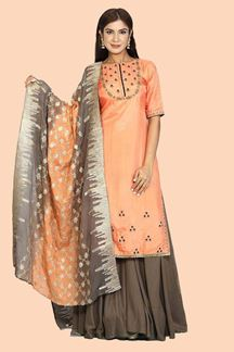 Picture of Capricious Peach & Grey Colored Partywear Embroidered Silk Palazzo Suit