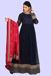 Picture of Flattering Navy Blue Colored Embroidered Georgette Anarkali Suit
