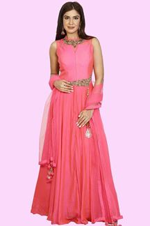 Picture of Adorable Florinsion Pink Colored Party Wear Anarkali Suit