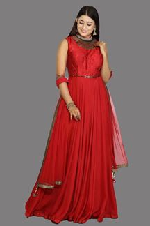 Picture of Flattering Red Colored Party Wear Embroidered Silk Anarkali Suit