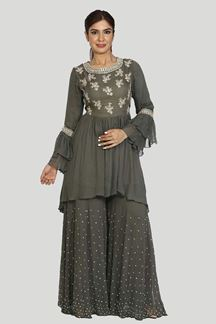 Picture of Cement Grey Colored Peplum Style Palazzo Suit