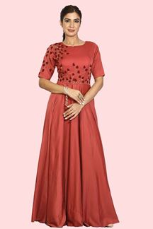 Picture of Mesmerizing Rust Colored Partywear Anarkali Suit