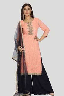 Picture of Engrossing Peach-Blue Colored Embroidered Georgette Palazzo Suit
