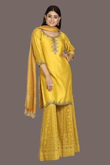 Picture of Surpassing Mustard Yellow Colored Silk Palazzo Suit