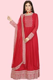Picture of Dazzling Cherry Red Colored Partywear Embroidered Georgette Anarkali Suit