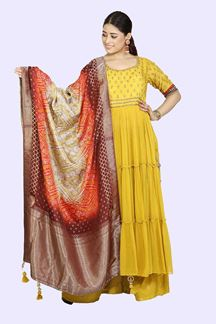 Picture of Beautiful Mustard Yellow Colored Embroidered Palazzo Suit