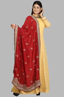 Picture of Gleaming Golden & Maroon Colored Party Wear Floor lenght Anarkali Suit