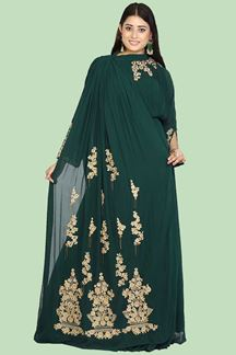 Picture of Refreshing Bottle Green Colored Embroidered Georgette Gown