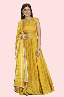 Picture of Pleasant Mustard Yellow Colored Party Wear Floor Length Anarkali Suit