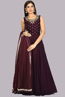 Picture of Radiant Wine Colored Party Wear Anarkali Suit