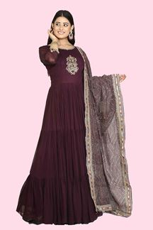 Picture of Stunning Wine Colored Designer Georgette Anarkali Suit