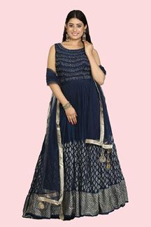 Picture of Stylish Blue Floor Length Designer Anarkali Suit