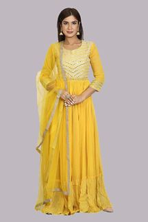 Picture of Elegant Yellow Colored Floor Length Anarkali Suit