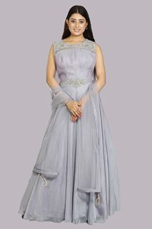 Picture of Flattering Grey Colored Partywear Organze Anarkali Suit