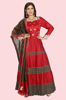 Picture of Red & Brown Color Anarkali Floor length Suit