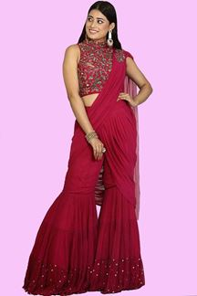 Picture of Rani Pink Color Crop top Gharara Suit