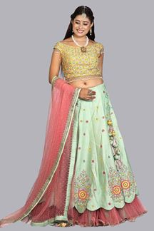 Picture of Attractive Green- Pink & Yellow Colored Embroidered Silk Lehenga Choli