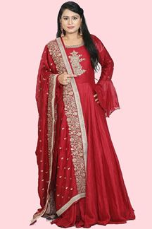Picture of Flamboyant Maroon Colored Floor Length Anarkali Suit